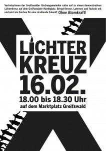 Lichterkreuz am 16.02. um 18:00 Uhr auf dem Greifswalder Marktplatz