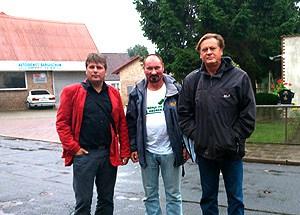 Koplin (LINKE), Hässelbarth (Grüne) und Freier (SPD) in Bargischow