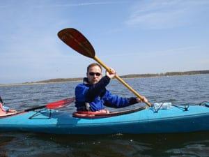 Manuel Dethloff auf einer Kanutour im Peenestrom mit dem Wolgaster Kanuverein