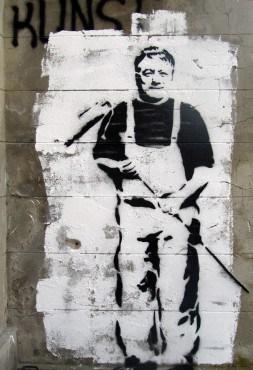 Fraktionsvorsitzender der Greifswalder CDU Axel Hochschild 2014 von Streetart-Künstlern